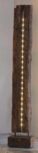 2-2-1-1047: Bahnschwelle aus Teak-Altholz mit LED-Beleuchtung - Stehlampe - Wohnzimmerlampe - 1