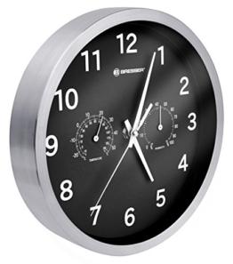 Bresser Wanduhr Mytime Thermo-/ Hygro mit Edelstahlrahmen und lautlosem Quarz Uhrwerk, schwarz - 1