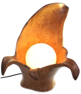 budawi® - Teakholz Lampe aus Wurzelholz mit Ball , Stimmungsleuchte, Deko-Leuchte Teak-Wurzelholz - 1
