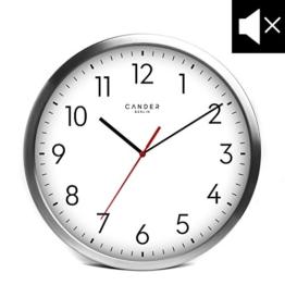 Cander Berlin MNU 2030 Weiße Wanduhr aus Aluminium mit lautlosem Uhrwerk - 30,5 cm 12 Zoll (Ø) - kein nerviges Ticken - 1