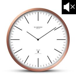 Cander Berlin MNU 3230 Funkwanduhr mit Kupferrahmen und lautlosem Uhrwerk - 30,5 cm 12 Zoll (Ø) - kein nerviges Ticken - 1