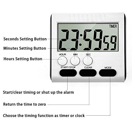 digital elektronischer timer kobwa 24h magnetische k chentimer k chenuhr kurzzeitmesser. Black Bedroom Furniture Sets. Home Design Ideas