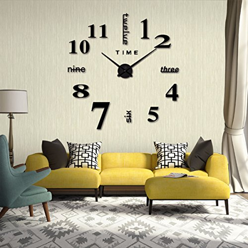 diy wanduhr ikalula 3d wanduhren modern design acryl spiegel metall wanduhr rahmenlose. Black Bedroom Furniture Sets. Home Design Ideas