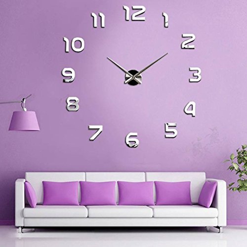 diy wanduhr moderne clock 3d acryl spiegel metall rahmenlose wandaufkleber gro uhren style raum. Black Bedroom Furniture Sets. Home Design Ideas