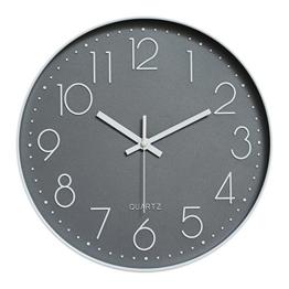 Dobess 12 Zoll Modern Quartz Lautlos Wanduhr Schleichende Sekunde ohne Ticken ( Grau ) - 1
