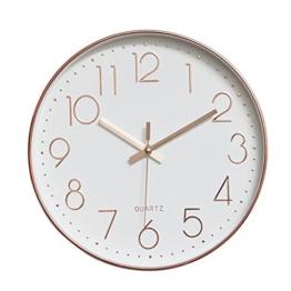 Dobess 12 Zoll Modern Quartz Lautlos Wanduhr Schleichende Sekunde ohne Ticken ( Rosegold ) - 1