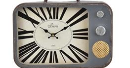[en.casa]® Dekorative Wanduhr alter Fernseher mit analoger Anzeige - 33 x 5 x 27 cm - mehrfarbig - Glas - 2