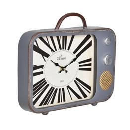 [en.casa]® Dekorative Wanduhr alter Fernseher mit analoger Anzeige - 33 x 5 x 27 cm - mehrfarbig - Glas - 1