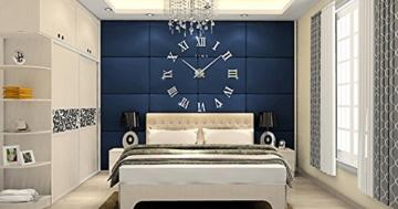 FAS1 Moderne DIY Große Wanduhr Big Armbanduhr Aufkleber 3D Spiegel Aufkleber Römischen Ziffern Wanduhr Home Office Abnehmbarer Dekoration (Akku Nicht Enthalten) Silber - 2