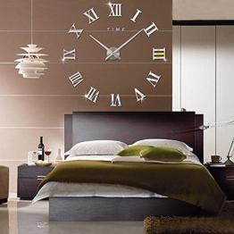FAS1 Moderne DIY Große Wanduhr Big Armbanduhr Aufkleber 3D Spiegel Aufkleber Römischen Ziffern Wanduhr Home Office Abnehmbarer Dekoration (Akku Nicht Enthalten) Silber - 1