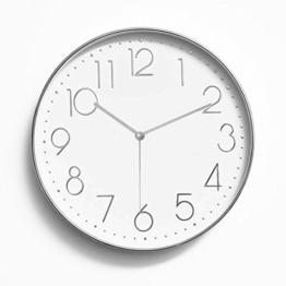 Foxtop 12 Zoll Modern Quartz Lautlos Wanduhr Schleichende Sekunde ohne Ticken ( Silber ) - 1