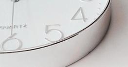 Foxtop 12 Zoll Modern Quartz Lautlos Wanduhr Schleichende Sekunde ohne Ticken ( Silber ) - 6