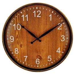 Foxtop 12 Zoll Nicht tickende Lautlose Vintage Holzkorn Runde Wanduhr mit Ruhig Sweep Bewegung Land Stil für Office Esszimmer (Braun) - 1