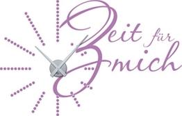 Graz Design Wandtattoo Wanduhr Deko für Badezimmer Spruch Zifferblatt gepunktet, lila, Horloge argent - 1