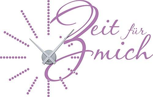 graz design wandtattoo wanduhr deko f r badezimmer spruch zifferblatt gepunktet lila horloge. Black Bedroom Furniture Sets. Home Design Ideas
