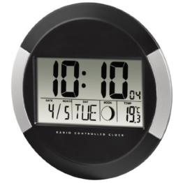Hama Digitale Wanduhr PP-245, Funkuhr mit Thermometer, Zeitzoneneinstellung, Kalender und Mondphase, schwarz - 1