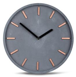 Hochwertige Beton-Uhr Wanduhr in Grau Kupfer 28cm rund moderne Wanddeko designer Uhr - 1