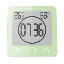 Hstyle Wasserdicht Dusche Wanduhren Badezimmer Küche Uhr Luftfeuchtigkeit Temperatur Anzeige Timer Grün - 1