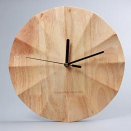KKLOCK Wanduhr Uhr Wanduhren ohne Ticken Lautlos für Wohnzimmer Büro Schlafzimmer Küche Kinderzimmer Holz Wellenoberfläche Einfache Ø30cm Runde Großes Moderne [Enthält keine Batterie - 1