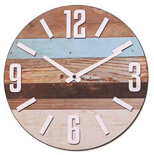 NIKKY HOME Streifen Holz Quarz Analog Runde Wanduhr - 1