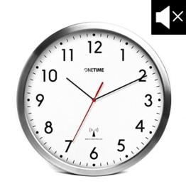 ONETIME MNU 3300 Weiße Funkwanduhr aus Aluminium mit lautlosem Sweep Uhrwerk 12 Zoll (Ø) 30,5 cm - 1