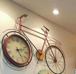 Ping0fm Amerikanischen Dorf an der alten Wellblech große Fahrrad gestaltet Wand kreative Wanduhr Griff Wanduhren - 1