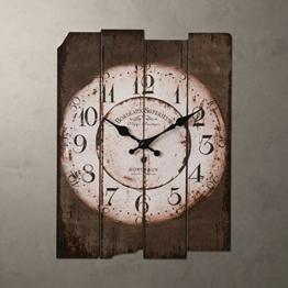 Ping0fm Continental retro-Uhren und künstlerische Kreativität Mediterrane alphanumerische alten hölzernen mute Uhr Scan Wanduhren,Braun - 1