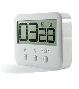 Pingko Digitale Küchentimer, große Ziffern, lauter Alarm, magnetische Rückseite, Ständer, Countdown Timer bis Maximalen 99Minuten 59Sekunden–weiß - 1