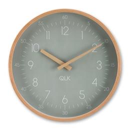 QLK Wanduhr SLIGHT - Holz - geräuscharmes Uhrwerk (grau) - 1