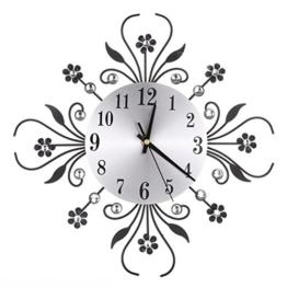 ROSENICE Wanduhr Modern Metall Diamanten Blume Silent Clock 3D Wand Kunst Büro Haus Wohnzimmer Dekoration (Schwarz) - 1