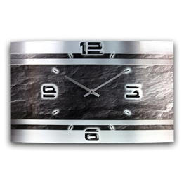 Schiefer Abstrakt Metallic Designer Funk Wanduhr Funkuhr modernes Design * Made in Germany* WAG307FL * leise kein Ticken - 1