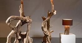Standlampe Teak Wurzelholz RIAZ XL 200cm | Stehlampe Holz Treibholz groß | Teakholz Lampe Handarbeit mit Lampenschirm | Außergewöhnlich Standleuchte rustikal Natur - 3