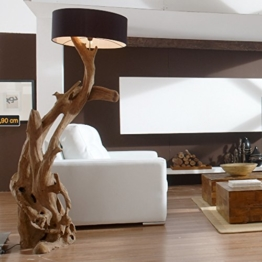Standlampe Teak Wurzelholz RIAZ XL 200cm | Stehlampe Holz Treibholz groß | Teakholz Lampe Handarbeit mit Lampenschirm | Außergewöhnlich Standleuchte rustikal Natur - 1