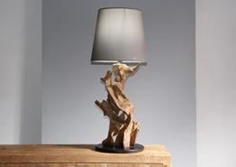 Stehlampe Teak IKAL Höhe 75 cm | Tischlampe Leuchte Wurzel Holz Schwermmholz | Unikat | Tischleuchte Lampe Treibholz - 1