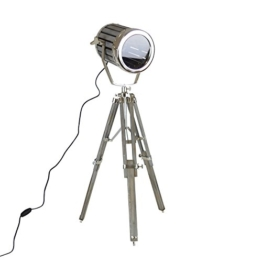 Tripod Lampe Metall Teakholz grau 84cm Stativlampe Stehlampe Spotleuchte Leuchte - 1