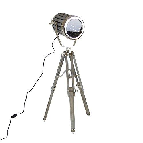tripod lampe metall teakholz grau 84cm stativlampe stehlampe spotleuchte leuchte 1 redidoplanet. Black Bedroom Furniture Sets. Home Design Ideas