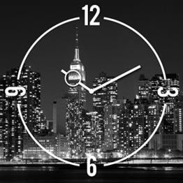 Wanduhr aus Glas, New York Skyline, schwarz-weiß, 30x30 cm von Eurographics - 1