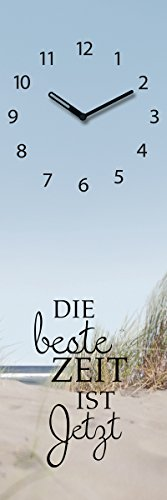 Wanduhr aus Glas, Spruch: Die Beste Zeit ist Jetzt, Strandmotiv, 20x60 cm von Eurographics - 1