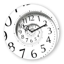 Wanduhr aus Glas, Time Flies, schwarz-weiß, Zahlen, 30x30 cm von Eurographics - 1