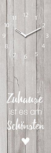 Wanduhr aus Glas, Zuhause ist es am Schönsten, Holzoptik, grau, 20x60 cm von Eurographics - 1