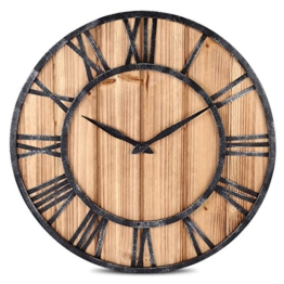 Wanduhr, FOKOM Holz Lautlos Vintage Wanduhr Uhr Wall Clock-Ø 40cm - 1