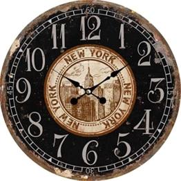 Wanduhr - Holz Küchenuhr mit großem Ziffernblatt aus MDF, Retro Uhr im angesagtem Shabby Chic Design mit leisem Quarz-Uhrwerk, Ø: 34 cm, Muster Uhr:New York - 1