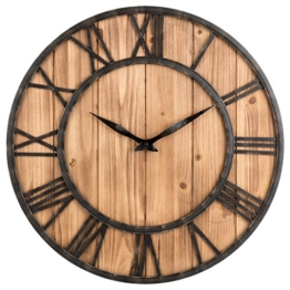 Wanduhr Vintage, Likeluk 15 Zoll(40cm) Lautlos Vintage Wanduhr Holz Uhr Uhren Wall Clock ohne Tickgeräusche - 1