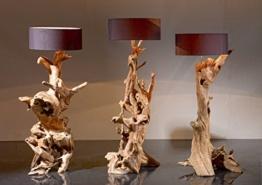 Wurzelholz Standlampe RIAZ | Leuchte Treibholz in Handarbeit | Teak Holz Lampe mit Lampenschirm Schwarz oder Grau - 1