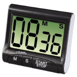 Xavax Digitaler Küchentimer mit Timer- und Stopp-Uhr-Funktion (Befestigung via Magnet, Clip, Hänger oder Aufsteller) batteriebetrieben, schwarz - 1