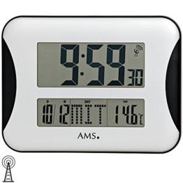 AMS 5894 Wanduhr Funk digitale Anzeige von Zeit, Datum, Wochentag und Temperatur - 1