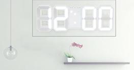 Decdeal LED Wanduhr Tischuhr Digital Wecker mit weißer LED Anzeige Helligkeit Einstellbar - 2