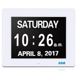 """Demenz-Tagesuhr, Gedächtnisverlust Digitalkalender-Tagesuhr, mit extra großem nicht abgekürztem Tag u. Monat. Perfekt für Senioren (8"""" white) - 1"""