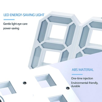 EVILTO- LED Digital-Wecker dimmbar, Digital LED Tisch & Wanduhr Wecker mit einstellbarer Helligkeit Funktion für Schreibtisch Wand Bett (Weiß-Blau) - 3