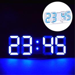 EVILTO- LED Digital-Wecker dimmbar, Digital LED Tisch & Wanduhr Wecker mit einstellbarer Helligkeit Funktion für Schreibtisch Wand Bett (Weiß-Blau) - 1